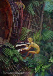 acrlic painting - surreal organist